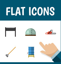 flat icon dacha set of tool hothouse hacksaw and vector image