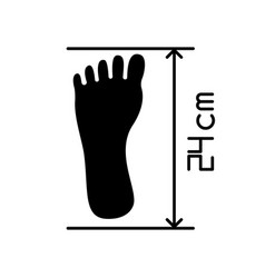 Foot length from toe to heel black glyph icon vector