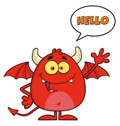 Funny red devil character waving vector