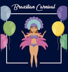 garota dancing of carnival rio janeiro vector image