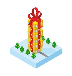 Gift of skyscraper tall office building from gift vector