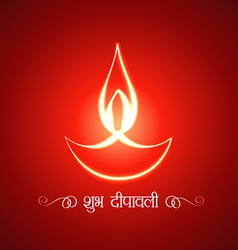 Glowing diwali diya on a background vector
