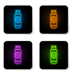 glowing neon usb flash drive and protection vector image