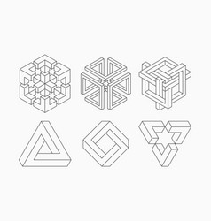 graphic impossible shapes circle square and vector image