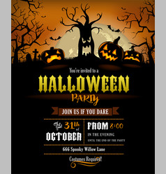 Halloween silhouette invitation vector