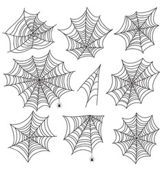 Halloween spiderweb black cobweb and spider vector