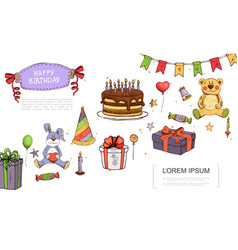 hand drawn birthday elements concept vector image