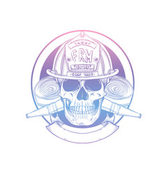 hand drawn sketch fireman skull vector image