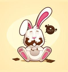 happy dirty chocolate rabbit vector image
