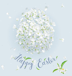 happy easter - template with easter white floral vector image