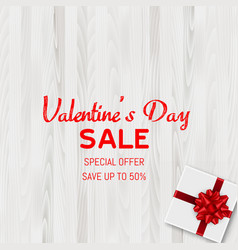Happy valentines day sale card with gift box vector
