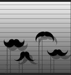 hipster image with mustache stylish set of vector image