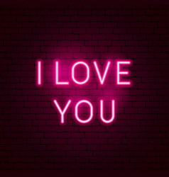 i love you neon sign vector image
