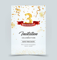 Invitation card template 3 years anniversary vector