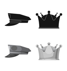 Isolated object of headwear and cap symbol set of vector