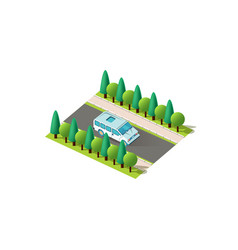 isometric blue minibus vector image
