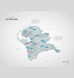 Isometric netherlands map with city names and vector