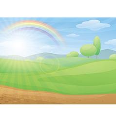 Kids cartoon landscape with rainbow vector