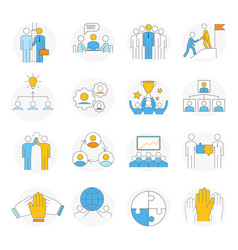 large collection simple teamwork icons vector image