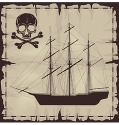Large ship and skull over old paper vector image