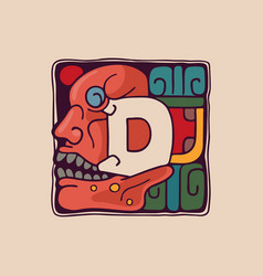 Letter d logo in aztec mayan or incas style vector