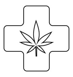 Medical marijuana icon outline style vector image