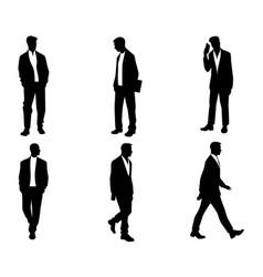 men silhouettes on white vector image