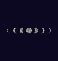 moon phases icons set vector image