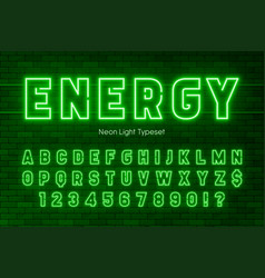 neon light alphabet extra glowing font design vector image