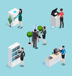 Office life scenes isometric set vector