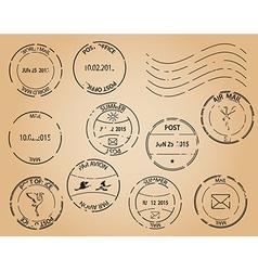 Old postage stamps - black elements vector