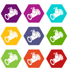 Pipe water icons set 9 vector