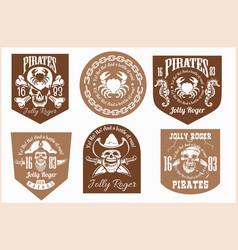 pirates design elements - set on light vector image