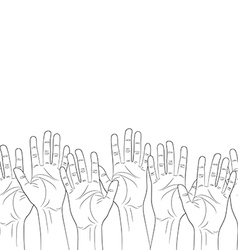Raised hands outline contour seamless pattern vector