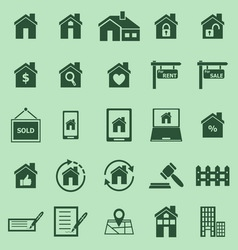 Real estate color icons on green background vector