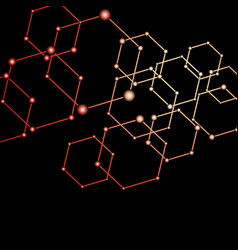 red light connected dots abstract background vector image