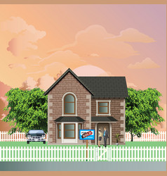 residential detached house with sold sign vector image
