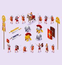 Roman legionaries set isometric icons vector