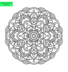 Round mandala flower vector