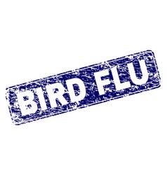 Scratched bird flu framed rounded rectangle stamp vector