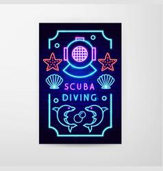 scuba diving neon flyer vector image
