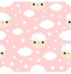 seamless pattern cloud star in sky sheep face vector image