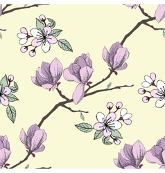 Seamless pattern with apple tree vector image
