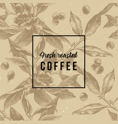 Seamless pattern with hand drawn coffee branches vector