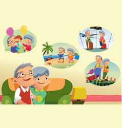 senior couple thinking about retirement activities vector image