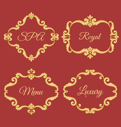 set collection of ornamental vintage frames with vector image