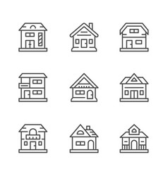set line icons houses vector image