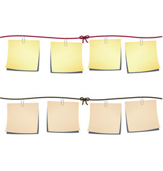 set note-papers on rope vector image