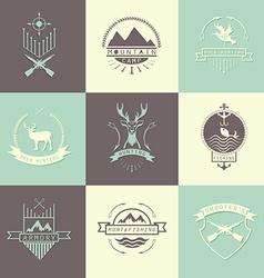 Set of camping and hunting logos vector image vector image