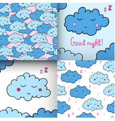 set of seamless pattern with cartoon sleeping vector image